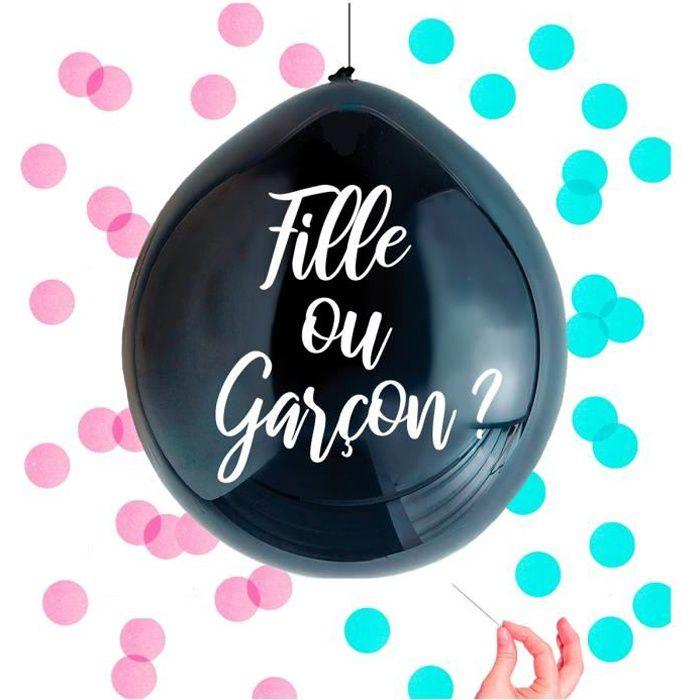 Ballon confettis 'Baby Shower' noir (fille ou garçon ?) - 1 m [A0745]