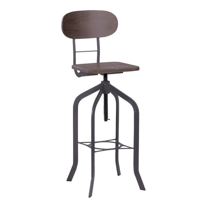 Tabouret de bar en bois noir style industriel vintage – Hauteur réglable - Cadre en acier avec repose pieds