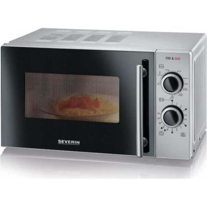 Severin MW 9282, Comptoir, Micro-ondes grill, 20 L, 700 W, Rotatif, Noir, Argent