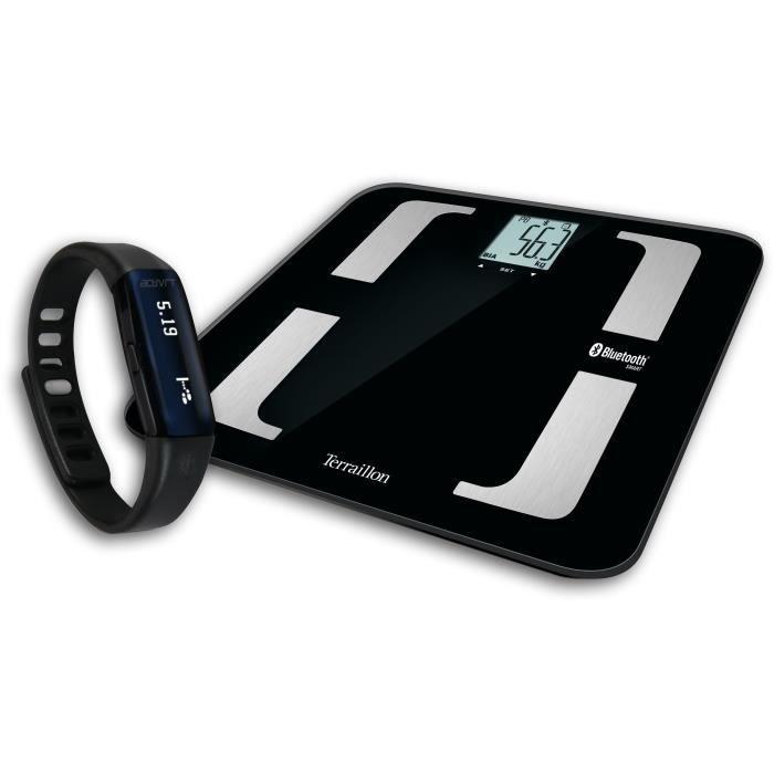 TERRAILLON 14002 - Fitness Pack connecté : Impédancementre + bracelet traqueur d'activité - 8 mémoires - Ecran LCD