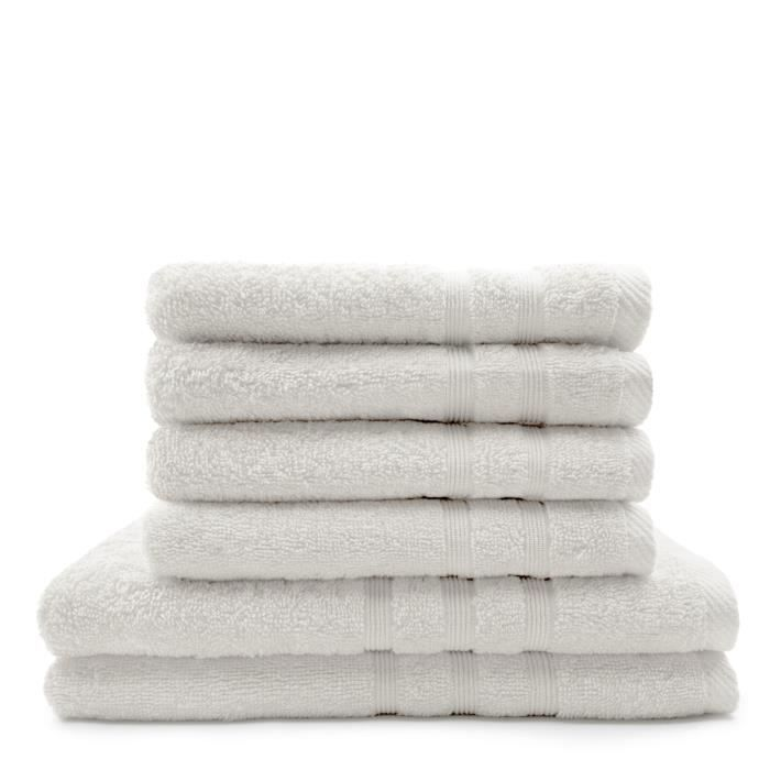 TODAY Lot de 4 Serviettes de bain 50 x 100 cm + 2 Draps de bain 70 x 130 cm Chantilly - 100% coton