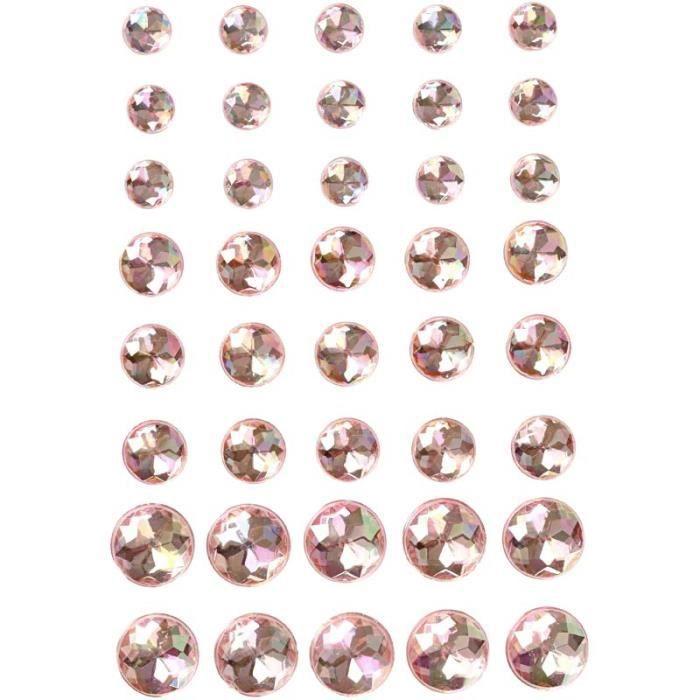 Pierres de strass rondes à facettes, auto-adhésives, divers formats, de la gamme de Vivi Gade Design. réf 28324