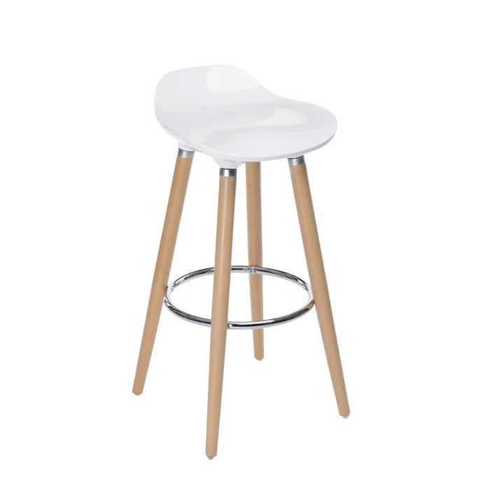 tabouret de bar avec pieds en h tre naturel assise coloris blanc style scandinave achat. Black Bedroom Furniture Sets. Home Design Ideas