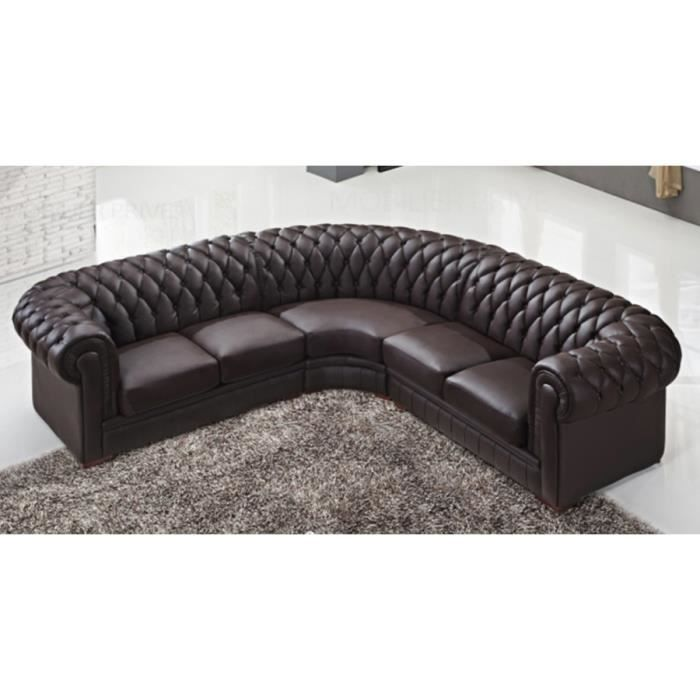 canap d 39 angle capitonn cuir chesterfield marron achat. Black Bedroom Furniture Sets. Home Design Ideas