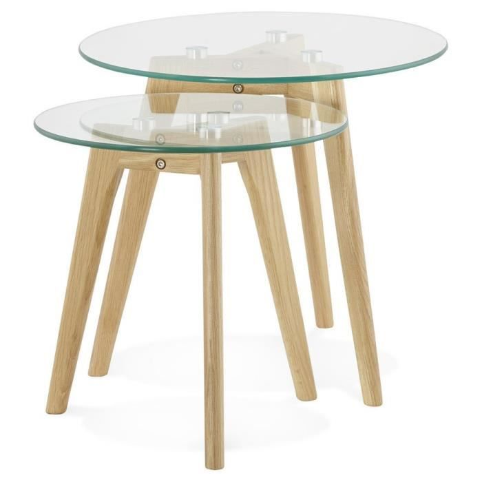 Tables gigognes ronde 39 gaby 39 en verre achat vente for 2 table basse ronde