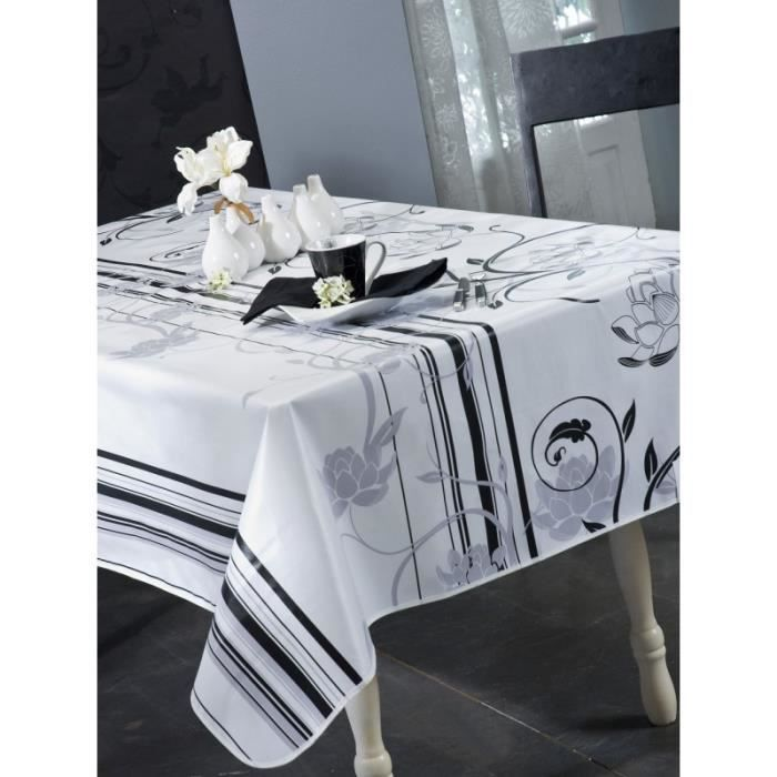 nappe en toile cir e rectangulaire 140x200 cm design blanc achat vente nappe de table. Black Bedroom Furniture Sets. Home Design Ideas