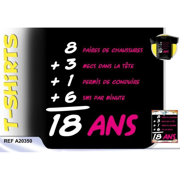 t shirt anniversaire 18 ans femme achat vente b ton. Black Bedroom Furniture Sets. Home Design Ideas