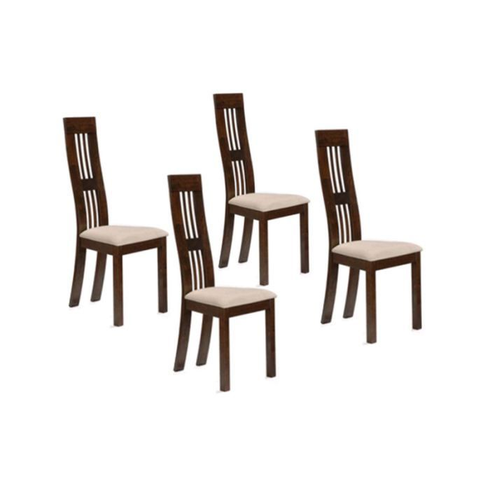 lot de 4 chaises en bois massif hevea achat vente chaise mati re de la structure bois. Black Bedroom Furniture Sets. Home Design Ideas