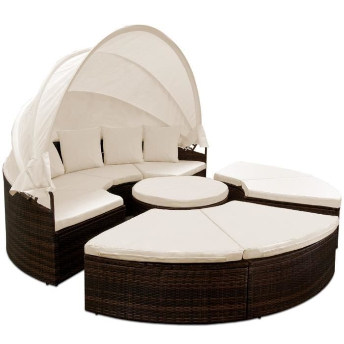 canap lit de jardin 230 cm parasol 4 coussins achat vente fauteuil jardin canap lit de. Black Bedroom Furniture Sets. Home Design Ideas