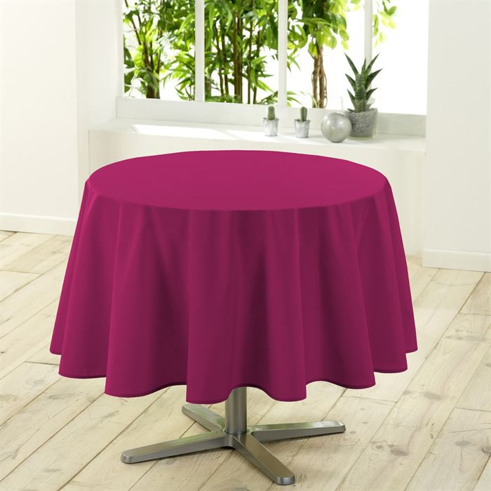 nappe ronde unie 180 cm essentiel coloris fuchsia achat vente nappe de table cdiscount. Black Bedroom Furniture Sets. Home Design Ideas