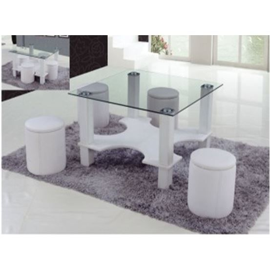 table basse 4 poufs magda blanc