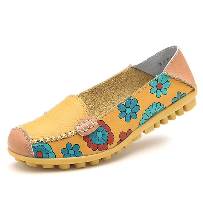 Womens Cowhide Floral Print Flat Casual Slip On Driving Loafer Shoes FF7VT Taille-37