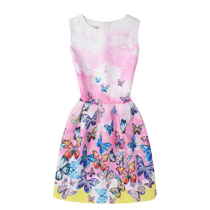 Summer New Butterfly Imprimer Long Sleeveless Dress Mode Slim