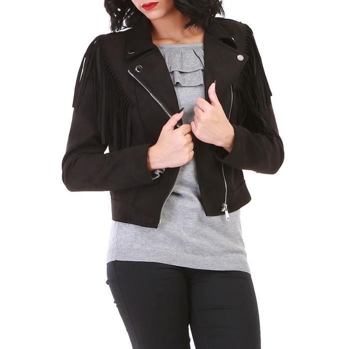 VESTE Veste biker noire en suédine à franges-36