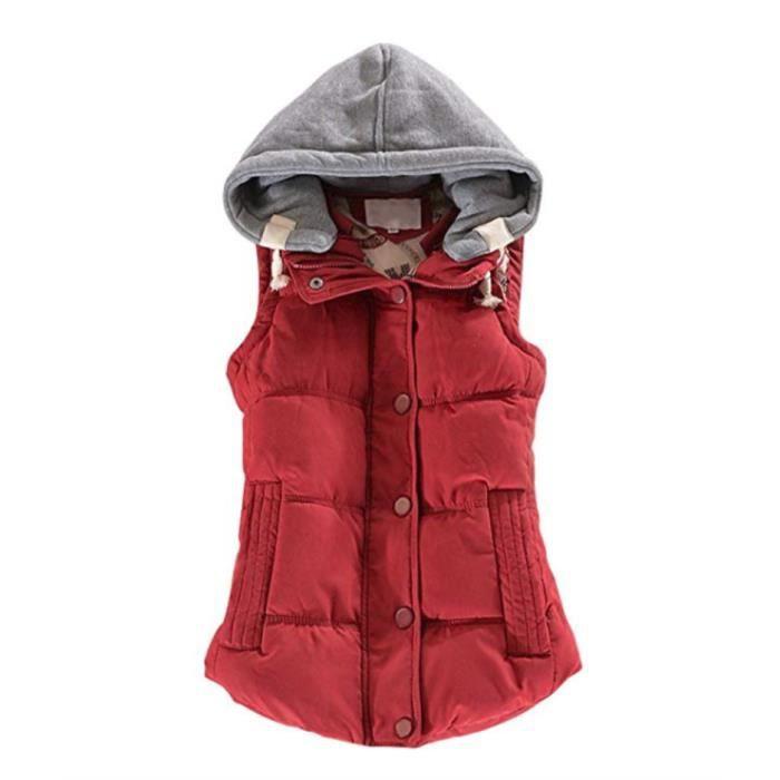 Hiver M Avec Poches Casual Gilet Épais Femmes Manches Doudoune 6xl Rouge Deux Capuche Sans Coton Manteau 9IE2DH