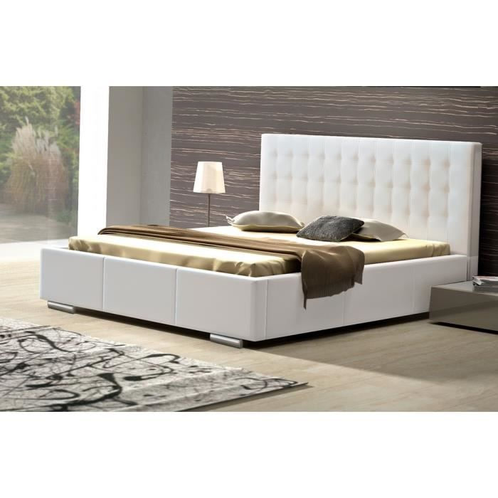 lit coffre capitonn sommier 160x200cm celita blanc achat vente structure de lit cdiscount. Black Bedroom Furniture Sets. Home Design Ideas