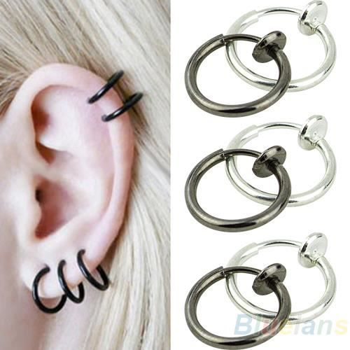 clip sur hoop boby nez l vre oreille piercing anneau boucles d 39 oreilles punk goth septum achat. Black Bedroom Furniture Sets. Home Design Ideas