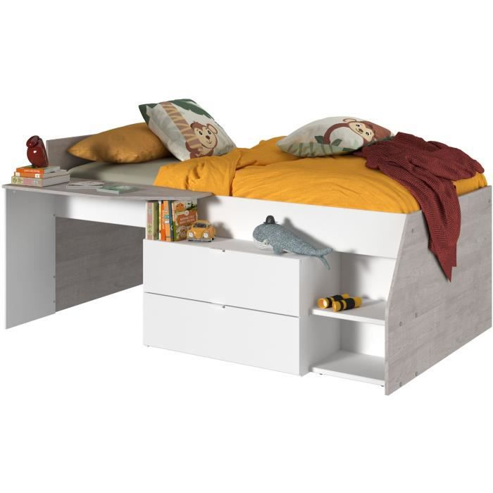 kim lit combin enfant contemporain d cor ch ne silex et blanc l 90 x l 190 ou 200 cm achat. Black Bedroom Furniture Sets. Home Design Ideas
