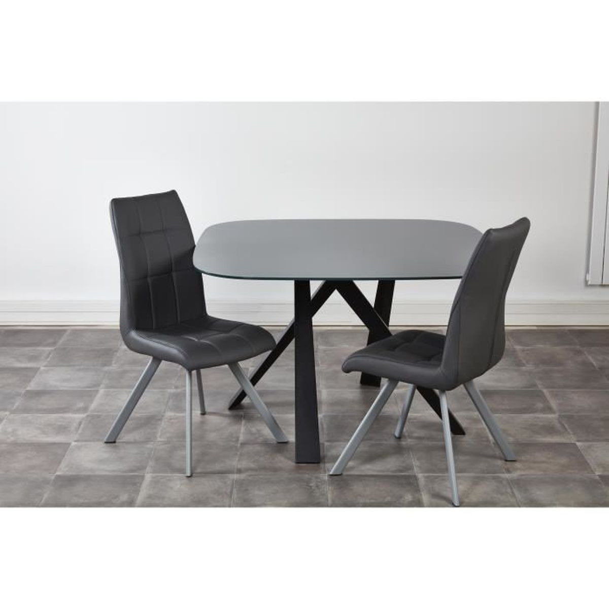 Ensemble table manger 2 chaises voldoy gris achat for Ensemble table a manger