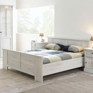 STRUCTURE DE LIT Lit contemporain couleur bois blanc ARIZONA Blanc