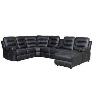 CANAPÉ - SOFA - DIVAN DINA - Canapé d'angle panoramique relax noir avec