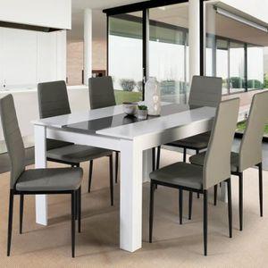 TABLE À MANGER SEULE Table à manger Georgia 6 personnes blanche et gris