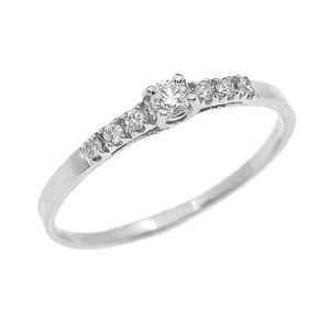 BAGUE - ANNEAU Bague Femme 14 Ct Or Blanc Diamant Finement Solita