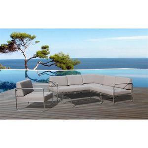 SALON DE JARDIN  Salon de jardin Swithome Saint-Barth Acier / Gris