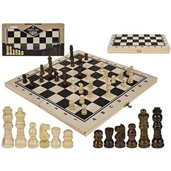 Jeu d/'échecs en bois avec mallette PERL 34 cm