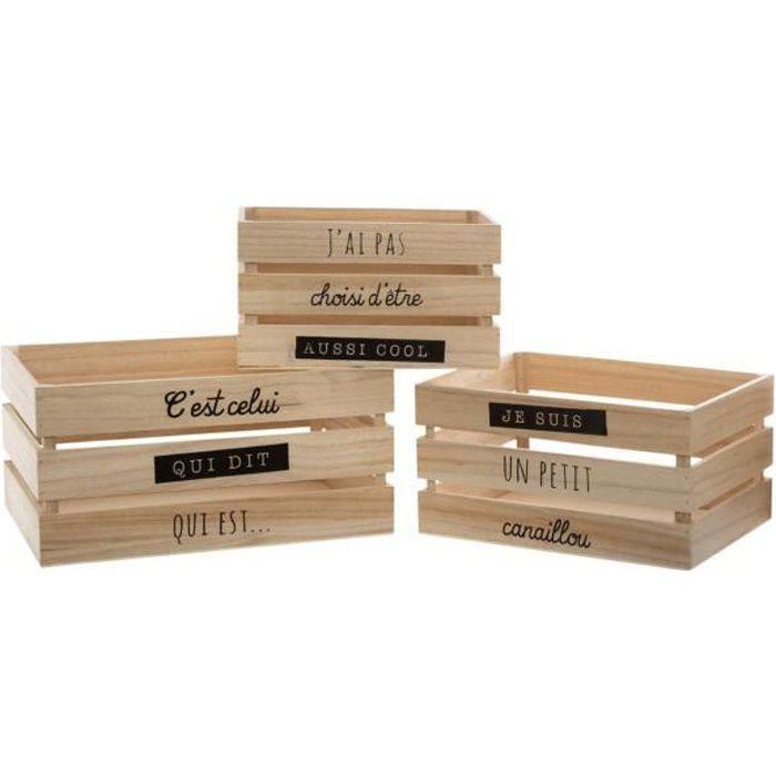 Atmosphera - Lot de 3 Caisses de rangement Cagettes en bois collection Swaggy Bois