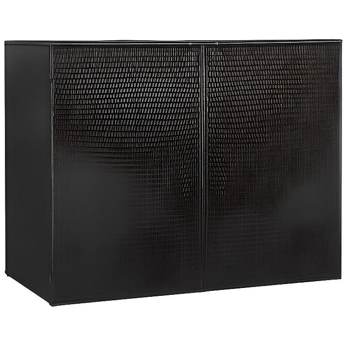 Coffre de rangement extérieur multifonctions en résine - pour 2 poubelles- 153 x 78 x 120 cm - noir -QUT