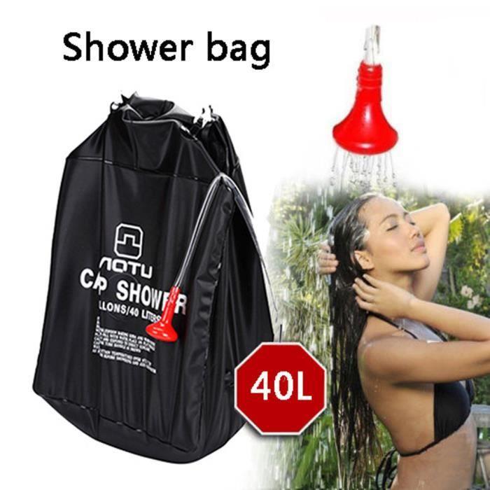 Douche portative Sac de tuyau de chauffage Chauffe-eau solaire Camp de camping en plein air 40L outils de camping 124