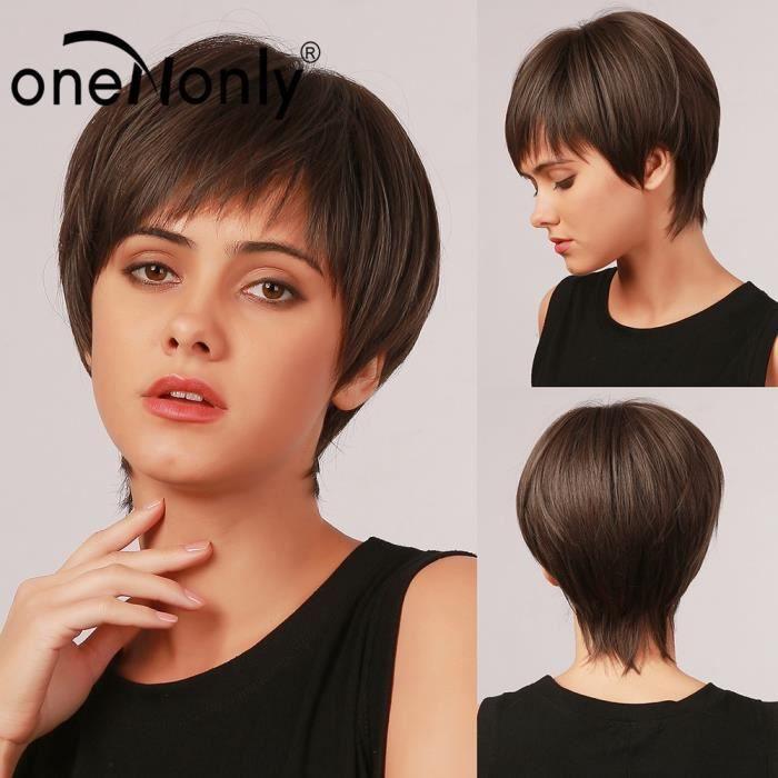 LC6023 -OneNonly – perruques synthétiques courtes avec frange pour femmes noires et blanches, cheveux naturels résistants à la chal
