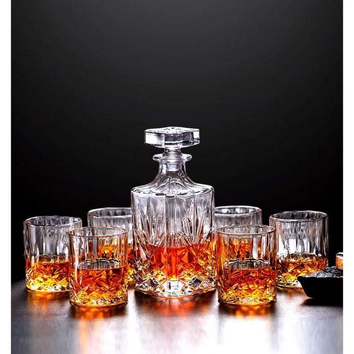 7 Pièces Carafe Whisky, Décanter Cristal, 750ml Bouteille avec 6x 300ml Verre à Whiskey