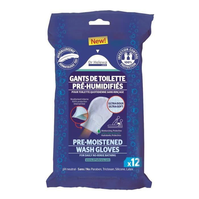 LCH - Gants de Toilettes pré-humidifiés plastifiés Infection Control x 12