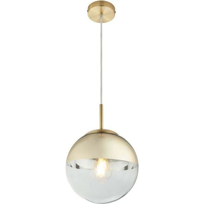 Suspension, boule de verre, or transparent, hauteur 120 cm, VARUS