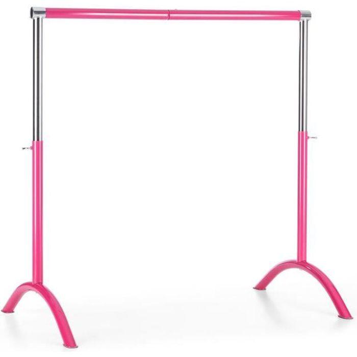 Klarfit Bar Lerina Barre de danse classique portable - Hauteur réglable 110x113cm - rose