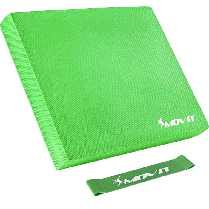 MOVIT Balance Pad Tapis d'entaînement - Coussin d'équilibre vert avec bande d´entraînement