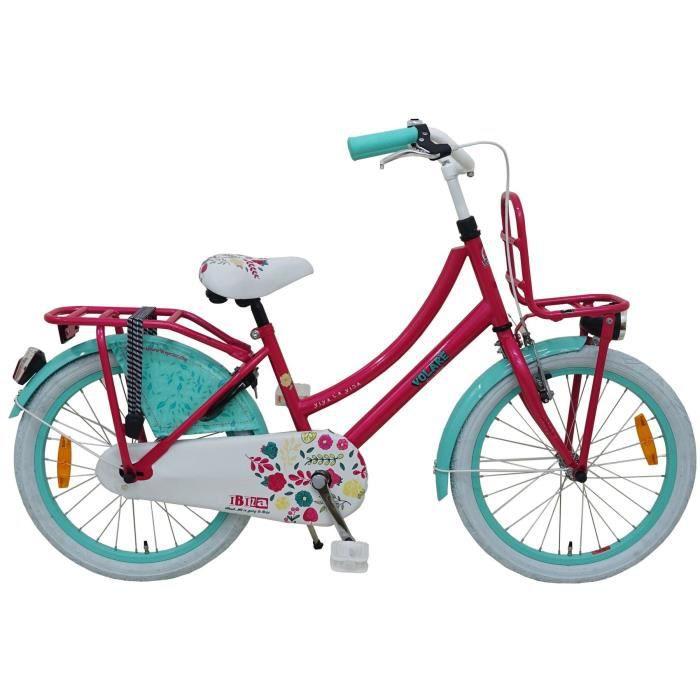 Vélo Enfant Fille 20 Pouces Ibiza Frein Avant sur Le Guidon et Le Frein Arrière à Rétropédalage Fuchsia Bleu 95% Assemblé