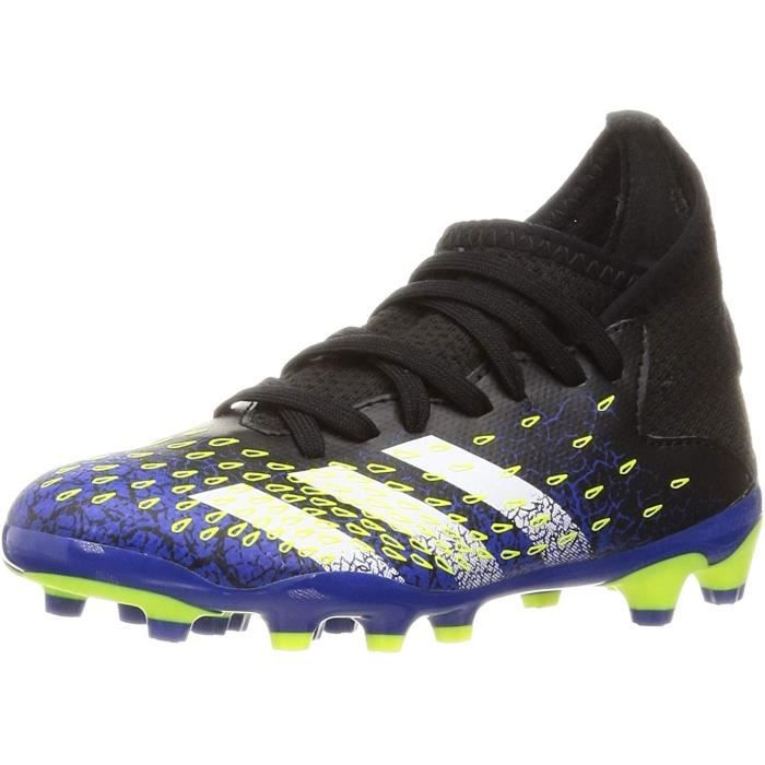 Adidas Predator Freak .3 MG J, Chaussures de Football, Core Noir / Ftwr Blanc / Solar Jaune, 35 Eu