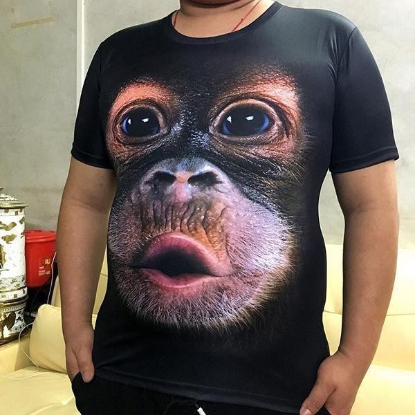Tee shirt cosplay,T-shirt à manches courtes col rond pour homme, haut marron, estival, estival, avec singe gorille imprimé en 3D, p