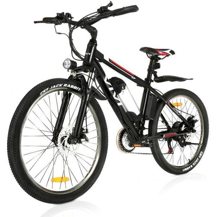 VIVI 26- Vélo électrique, VTT Electrique Homme, vélo de Montagne en alliage d'aluminium avec 21 vitesses, vélo de Ville léger, Noir