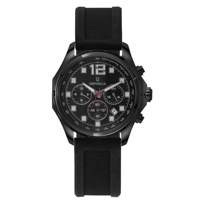 ORPHELIA - Montre Homme - Quartz Multi Dial - Bracelet Plastique Noir - OR86701