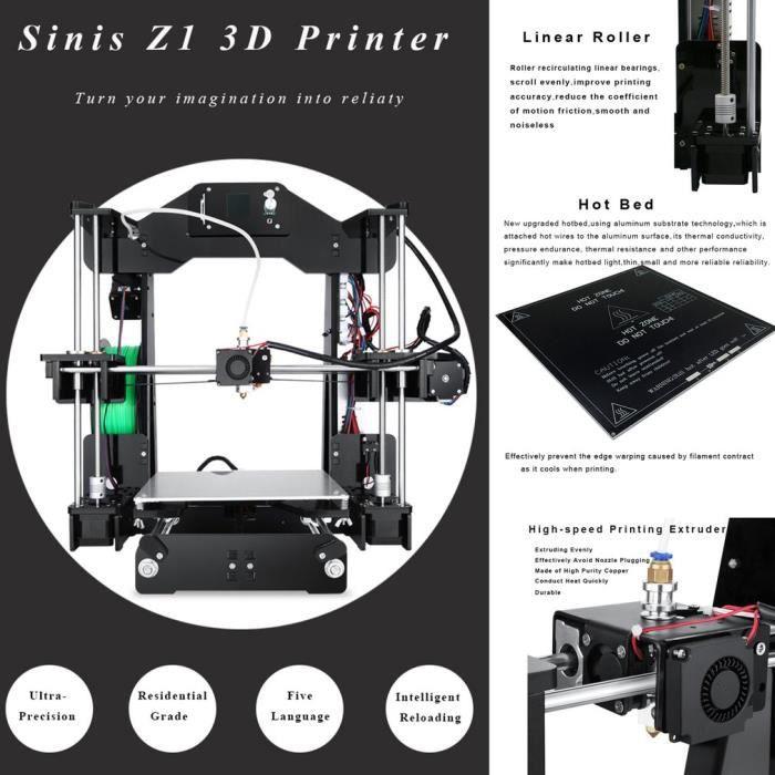 3D Imprimante Impression Taille 220x220x240mm Haute Précision Eu Plug