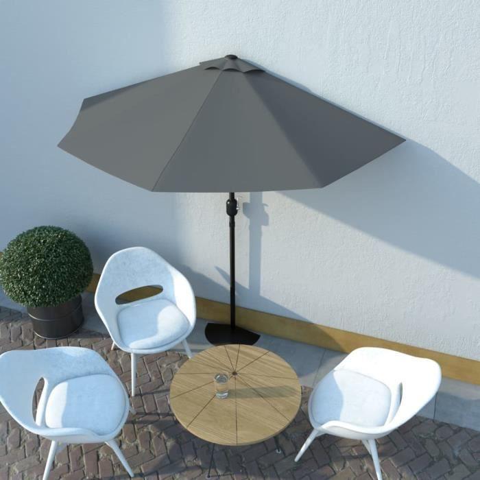 Parasol de Jardin Terrasse Imperméable de balcon et mat en aluminium Anthracite 270x135cm Demi