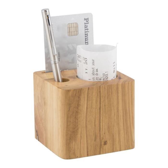 Porte-addition en bois modèle Cube (stylo inclus) - MC-BPBLOCK-TE 7x8x7cm Marron
