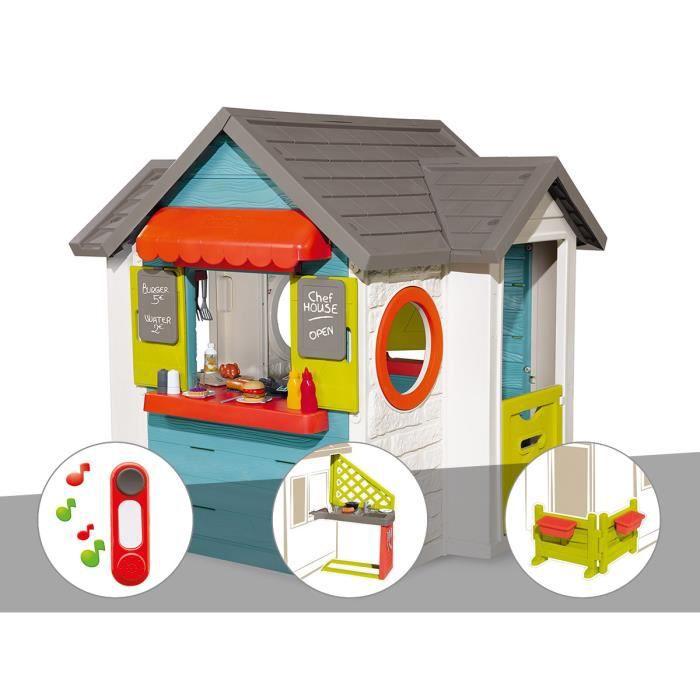 Cabane enfant Smoby Chef House + Sonnette + Cuisine d'été + Espace jardin 124 x 132 x 135 cm