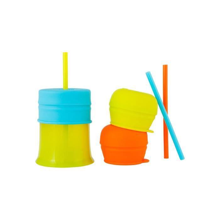 TOMY Snug Straw 1 Tasse, 3 Couvercles universaux et 3 Pailles en silicone