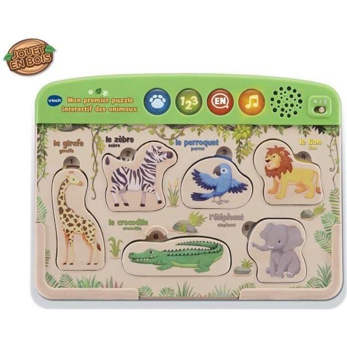 VTECH BABY - Mon Premier Puzzle Interactif des animaux - Jouet Bois FSC®