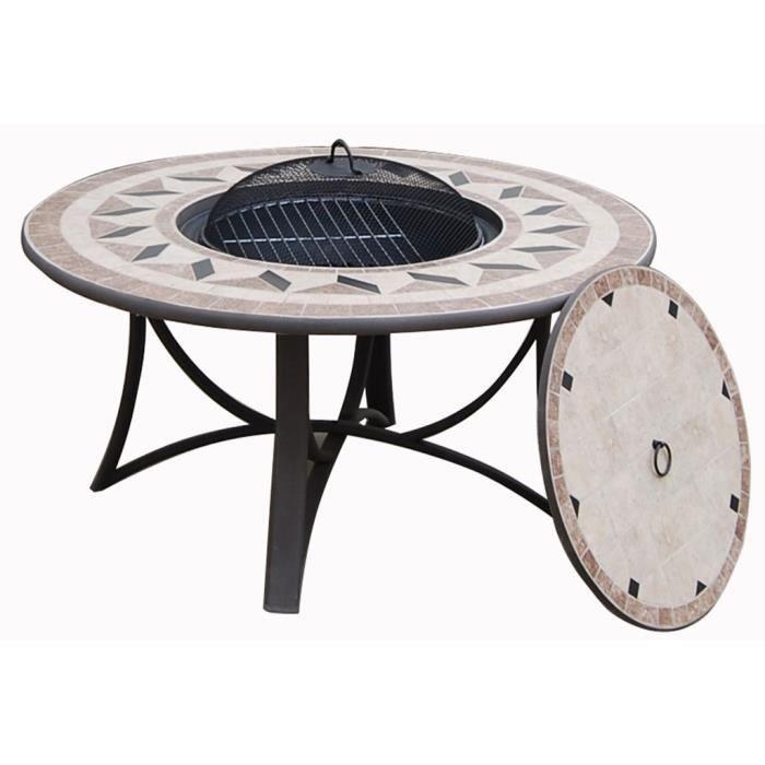 Salon de jardin table basse ronde + 4 chaises FILAE aspect ...